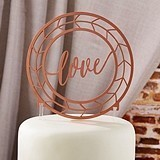 "Kate Aspen Geometric Copper Script ""Love"" Cake Topper"