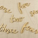 Kate Aspen Gold Script Calligraphy Table Numbers 1 through 6