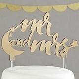 Kate Aspen Under the Stars 'Mr. and Mrs.' Gold Acrylic Cake Topper