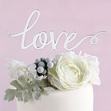 Kate Aspen 'Ethereal Dream' Collection Silver Mirror Love Cake Topper