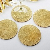 Kate Aspen Chic Gold Glitter-Topped EVA Coasters (Set of 4)