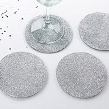 Kate Aspen Stylish Silver Glitter-Topped EVA Coasters (Set of 4)