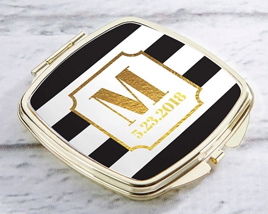 Kate Aspen Personalized Gold-Colored-Metal Compact - Classic Wedding