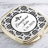 Kate Aspen Personalized Gold-Colored-Metal Compact (Damask Motif)