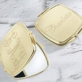 Kate Aspen Personalizable Gold-Colored-Metal Engraved Compact