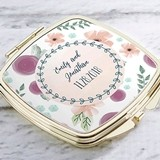 Kate Aspen Personalized Gold-Colored-Metal Compact (Bridal Floral)