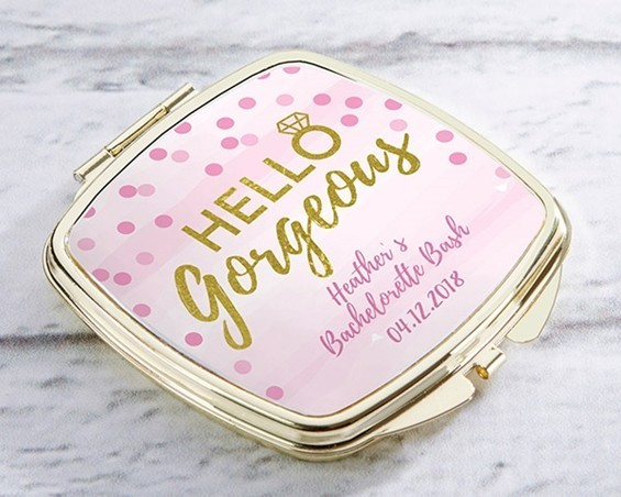 Kate Aspen Personalized Gold-Colored-Metal Compact (Hello Gorgeous)