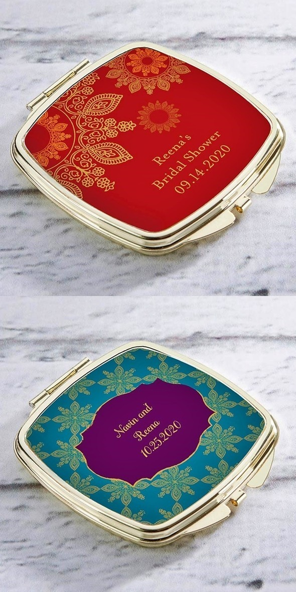 Kate Aspen Personalized Gold-Colored-Metal Compact (Indian Jewel)