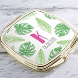 Kate Aspen Personalized Pineapples & Palms Gold-Colored-Metal Compact