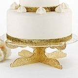 "Kate Aspen ""Party Time"" Gold Glitter Acrylic Cake Stand"