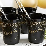 Kate Aspen Confetti Motif 'Cheers!' Black Stadium Cups (Set of 12)