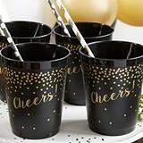 Kate Aspen Confetti Motif 'Cheers!' Black Stadium Cups (Set of 12)