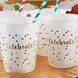 Kate Aspen Confetti Motif 'Celebrate!' White Stadium Cups (Set of 12)