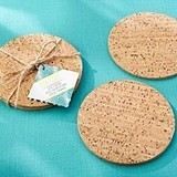 Kate Aspen Tropical Chic Gold Glitter-Flecked Cork Coasters (Set of 4)