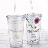 Kate Aspen Acrylic Tumbler with Personalized Bridesmaid Insert