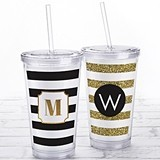 Kate Aspen Acrylic Tumbler with Personalized 'Classic Stripes' Insert