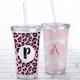 Kate Aspen Acrylic Tumbler with Personalized Monogram Design Insert
