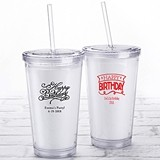 Kate Aspen Personalized Printed Double-Walled Tumbler (Happy Birthday)