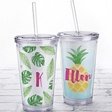 Kate Aspen Acrylic Tumbler with Personalized Pineapple or Palms Insert
