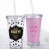 Kate Aspen Acrylic Tumbler with Personalized Let's Party Design Insert