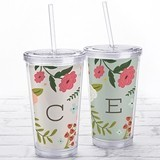 Kate Aspen Acrylic Tumbler with Personalized 'Vintage Floral' Insert