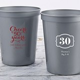 Personalized Milestone Birthday 16 oz Stadium Cup (5 Designs/4 Colors)