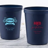 Personalized Adult Birthday 16 oz Stadium Cup (3 Designs) (4 Colors)