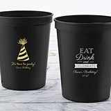 Personalized 16 oz Stadium Cup w/ All Ages Birthday Designs (4 Colors)