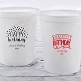 Personalized Happy Birthday 16 oz Stadium Cup (3 Designs) (4 Colors)