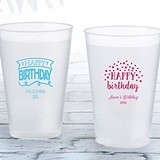 Personalized 12 oz. Frosted Flex Cup with Happy Birthday Designs