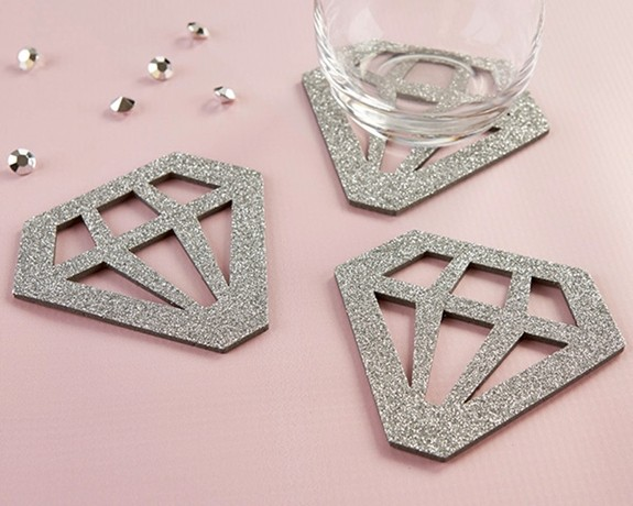Kate Aspen Silver Glitter Diamond-Shaped Coasters (Set of 4)