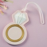 Kate Aspen Diamond Ring-Shaped Pink Rubber Luggage Tag