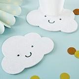 Kate Aspen Adorable White Glitter Cloud-Shaped Coasters (Set of 4)