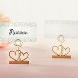 Kate Aspen Gold Double Heart Place Card Holders (Set of 6)