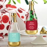 Personalized Gold Metallic Champagne Bottle Favors - Holiday