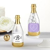 Personalized Gold Metallic Champagne Bottle Favors - Monogram