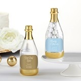 Personalized Gold Metallic Champagne Bottle Favors - Wedding