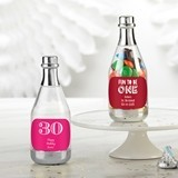 Personalized Silver Metallic Champagne Bottle Favors - Birthday