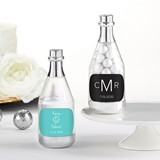 Personalized Silver Metallic Champagne Bottle Favors - Monogram