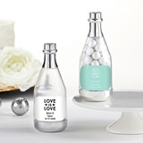Personalized Silver Metallic Champagne Bottle Favors - Wedding