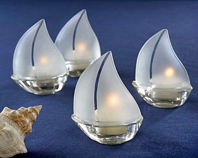 """Set Sail"" Frosted Glass Sailboat Tealight Holder (Set of 4)"
