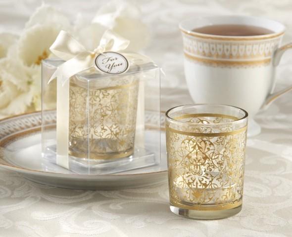 """""""Golden Renaissance"""" Glass Tealight Holder (Set of 4)"""