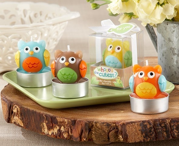 """Whooo's the Cutest"" Baby Owl Candle (Set of Four Assorted)"