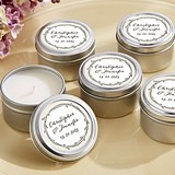 "Personalized ""The Hunt is Over"" Miniature Candle Tins"