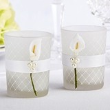 Frosted Glass 'Lovely Lily' Calla Lily Tealight Holder (Set of 4)