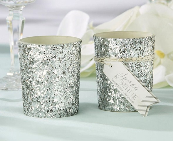 """Sparkle and Shine"" Silver Glitter Votive Holder (Set of 4)"