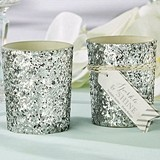 """Sparkle and Shine"" Silver Glitter Votive Holder (Set of 4)"