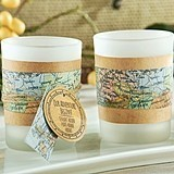 """Our Adventure Begins"" Map Motif Tealight Holders (Set of 4)"