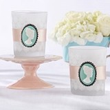Kate Aspen Vintage Cameo Frosted Glass Tea Light Holders (Set of 4)