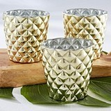 Kate Aspen Textured Gold-Colored Glass Votive Holders (Set of 4)